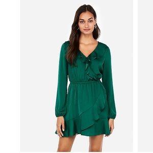 NWT Express Green Ruffle Elastic Waist Wrap Dress
